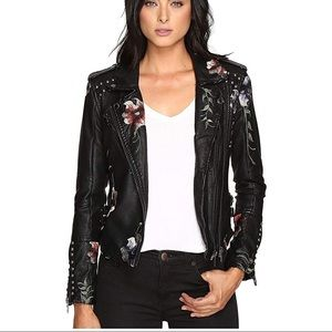 Blanknyc Studded & embroidered leather jacket